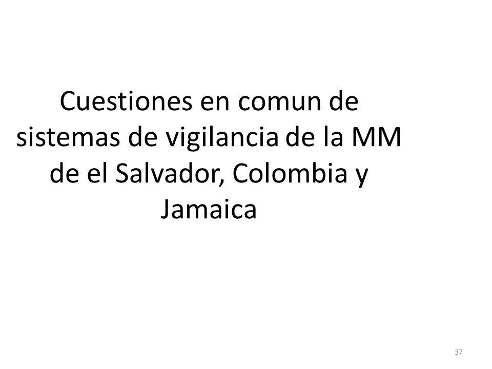Cuestiones en comun de sistemas de vigilancia de la MM de el Salvador, Colombia y Jamaica