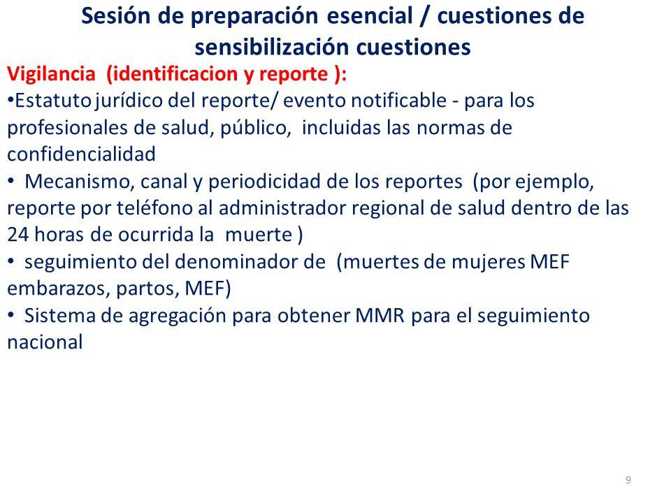 Sesión de preparación esencial / cuestiones de sensibilización cuestiones