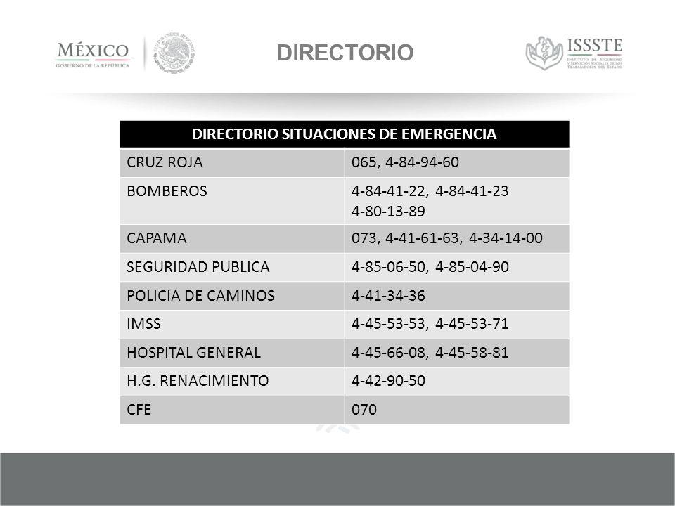 DIRECTORIO SITUACIONES DE EMERGENCIA