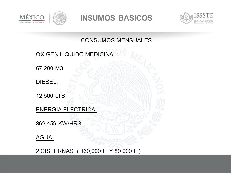 INSUMOS BASICOS CONSUMOS MENSUALES OXIGEN LIQUIDO MEDICINAL: 67,200 M3