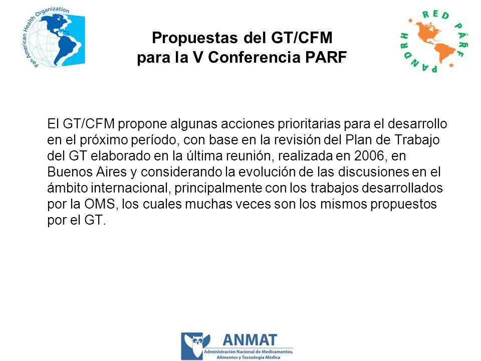 Propuestas del GT/CFM para la V Conferencia PARF