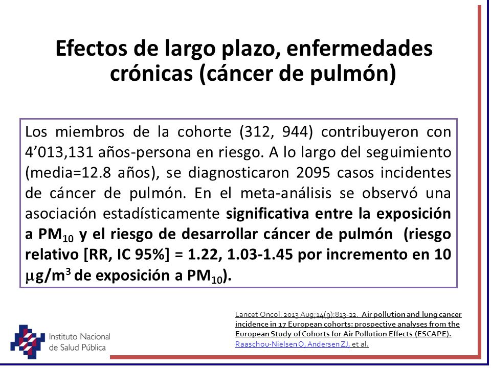 Efectos de largo plazo, enfermedades crónicas (cáncer de pulmón)