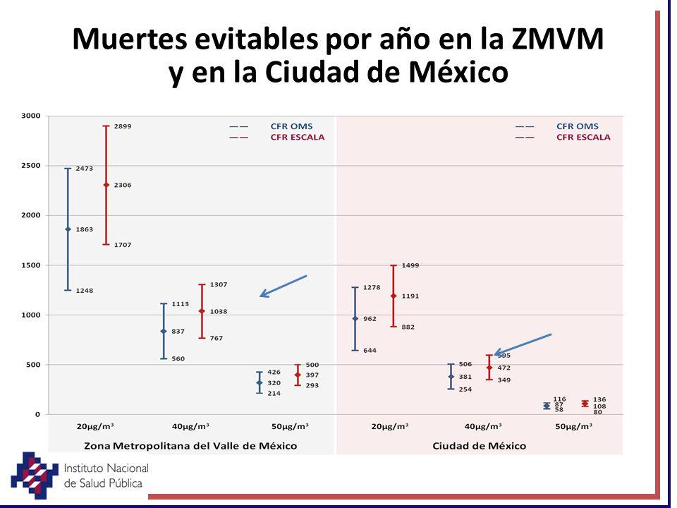Muertes evitables por año en la ZMVM y en la Ciudad de México