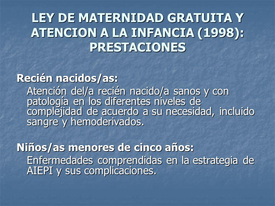 LEY DE MATERNIDAD GRATUITA Y ATENCION A LA INFANCIA (1998): PRESTACIONES
