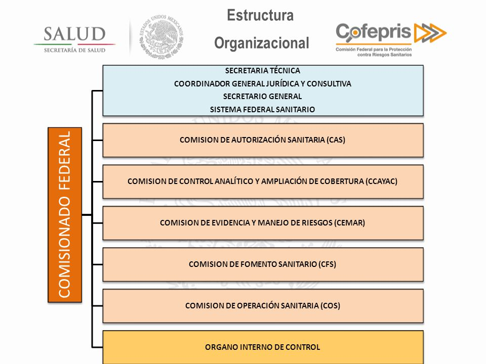 COMISIONADO FEDERAL Estructura Organizacional SECRETARIA TÉCNICA