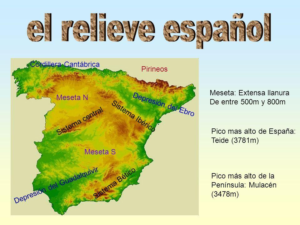 el relieve español Cordillera Cantábrica Pirineos
