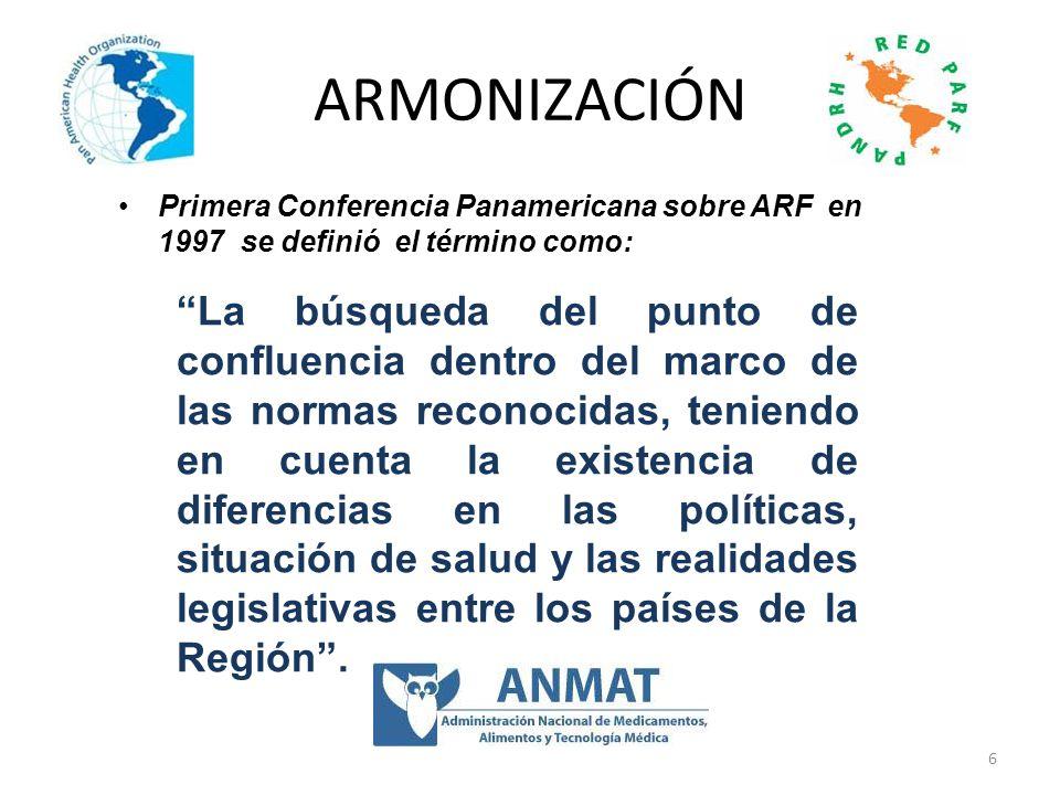 ARMONIZACIÓN Primera Conferencia Panamericana sobre ARF en 1997 se definió el término como:
