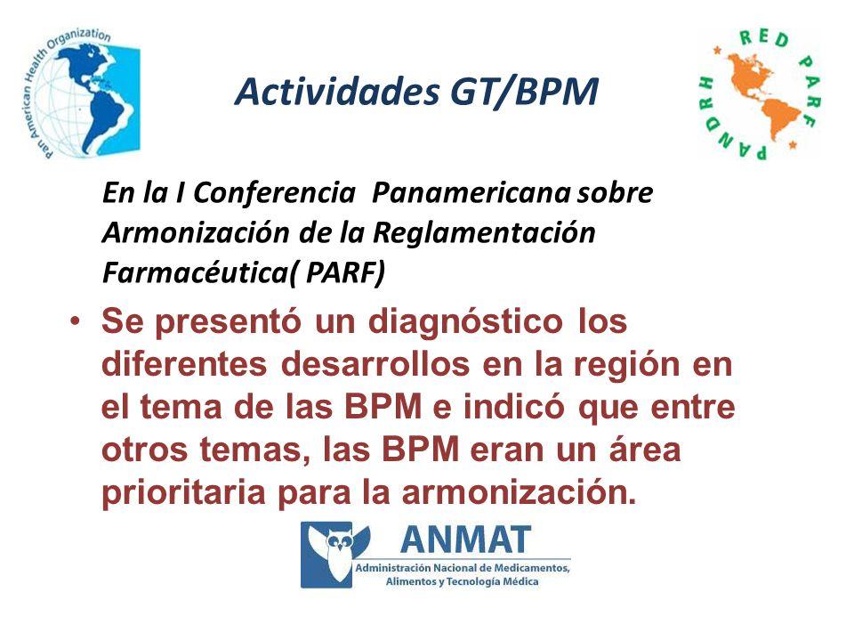 Actividades GT/BPM En la I Conferencia Panamericana sobre Armonización de la Reglamentación Farmacéutica( PARF)