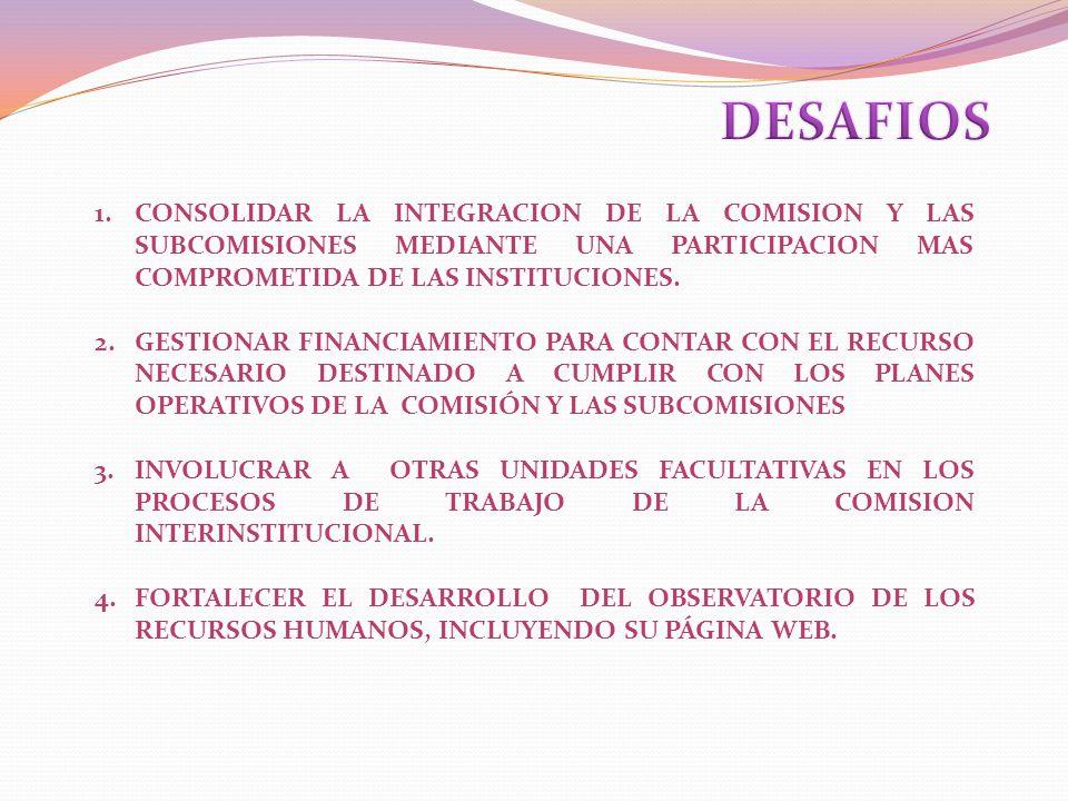 DESAFIOS CONSOLIDAR LA INTEGRACION DE LA COMISION Y LAS SUBCOMISIONES MEDIANTE UNA PARTICIPACION MAS COMPROMETIDA DE LAS INSTITUCIONES.