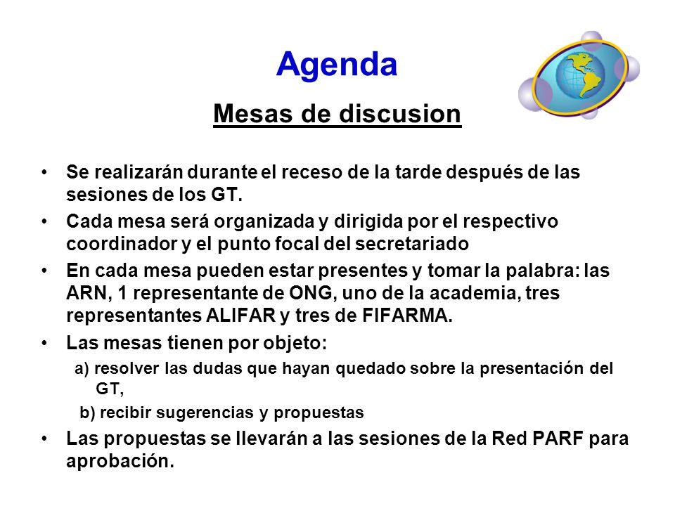 Agenda Mesas de discusion