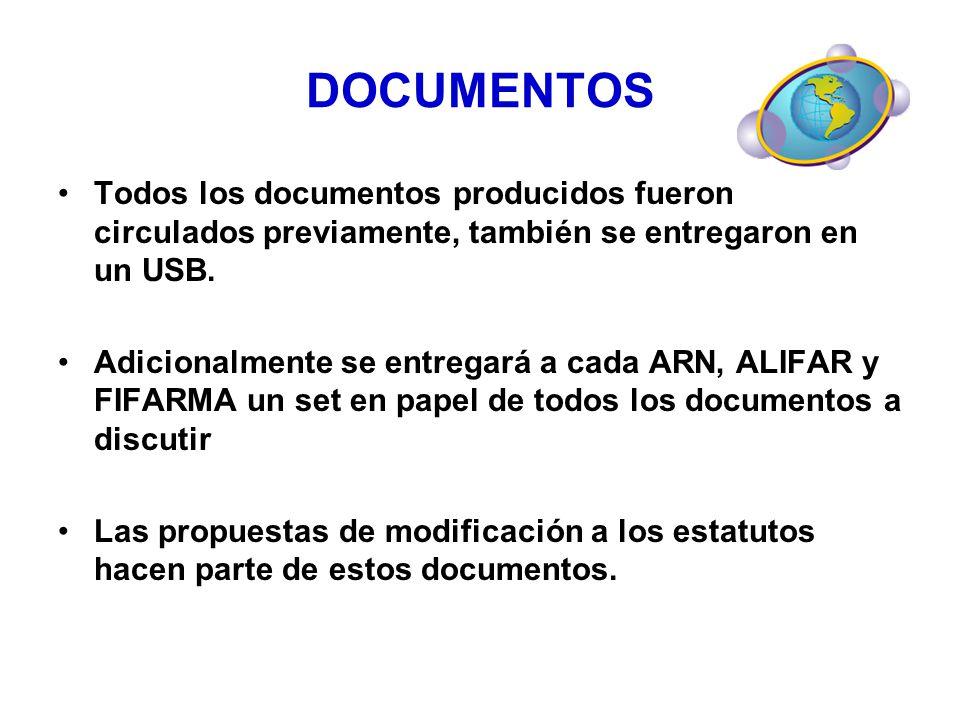 DOCUMENTOS Todos los documentos producidos fueron circulados previamente, también se entregaron en un USB.
