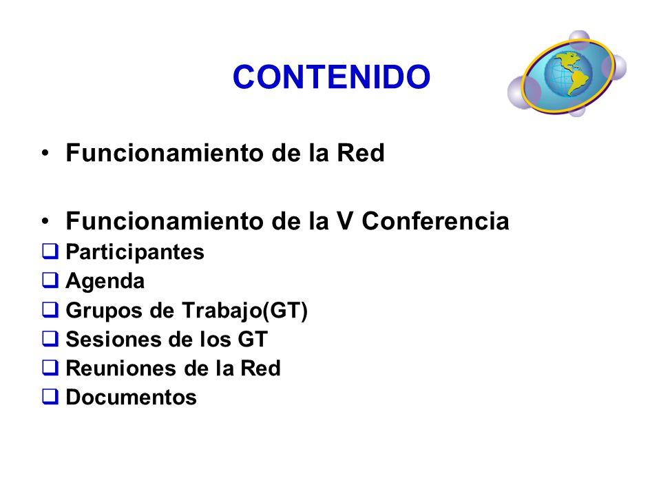 CONTENIDO Funcionamiento de la Red Funcionamiento de la V Conferencia