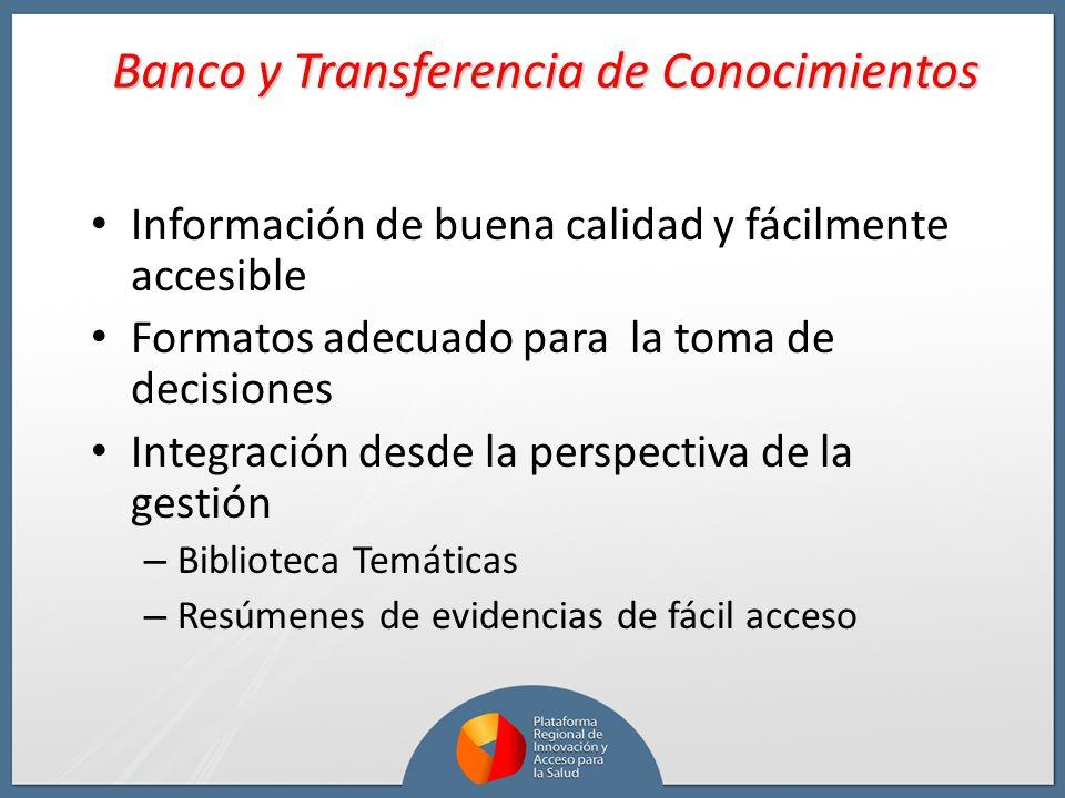 Banco y Transferencia de Conocimientos