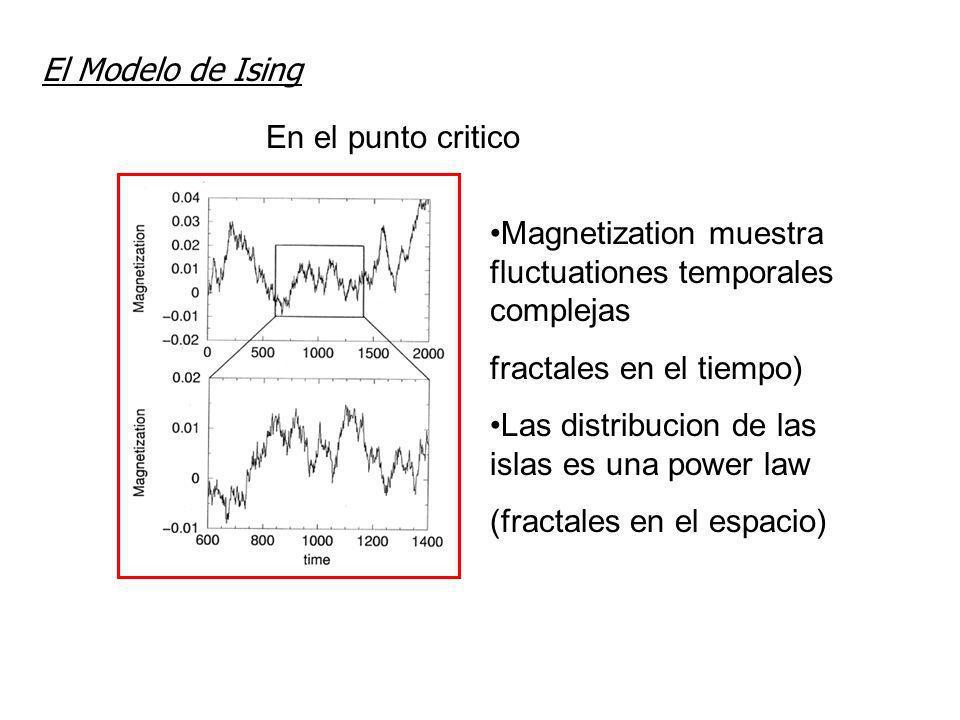 El Modelo de Ising En el punto critico. Magnetization muestra fluctuationes temporales complejas. fractales en el tiempo)