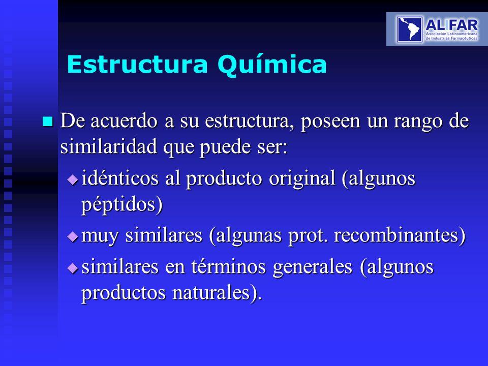 Estructura Química De acuerdo a su estructura, poseen un rango de similaridad que puede ser: idénticos al producto original (algunos péptidos)
