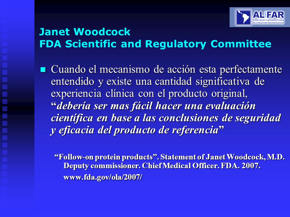 Janet Woodcock FDA Scientific and Regulatory Committee