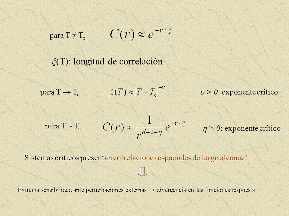 ξ(T): longitud de correlación