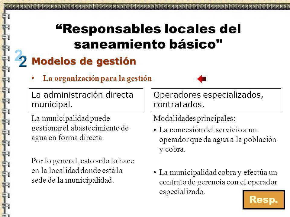 Responsables locales del saneamiento básico