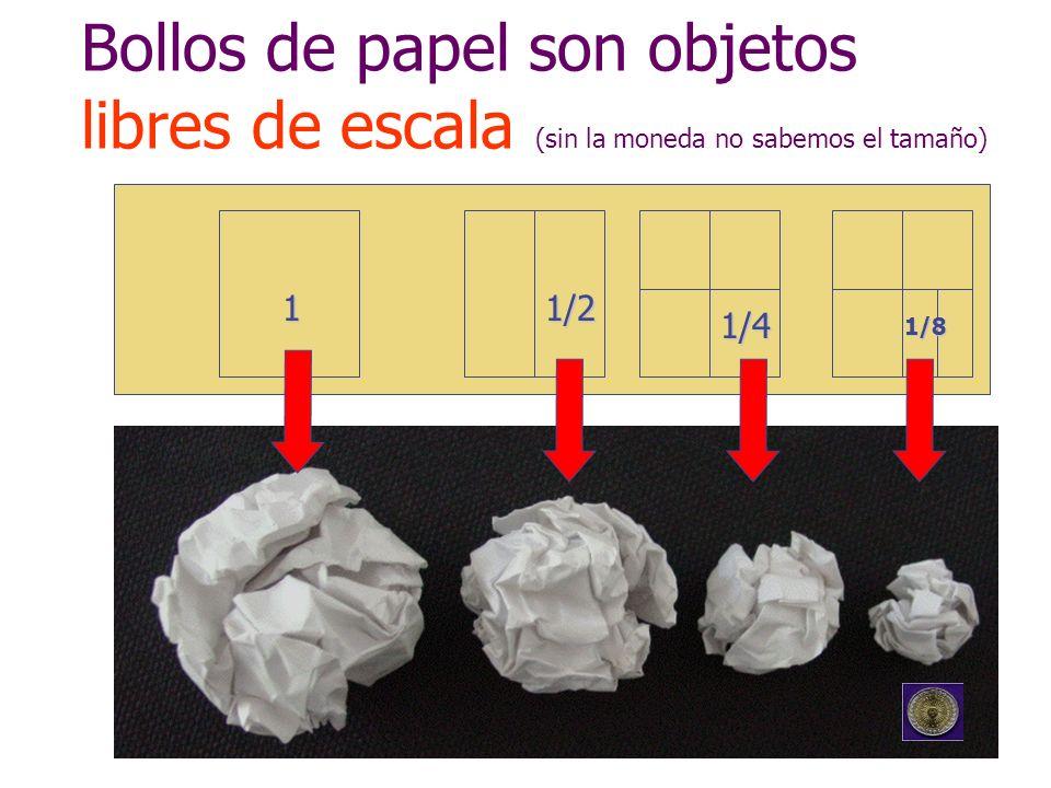 Bollos de papel son objetos libres de escala (sin la moneda no sabemos el tamaño)