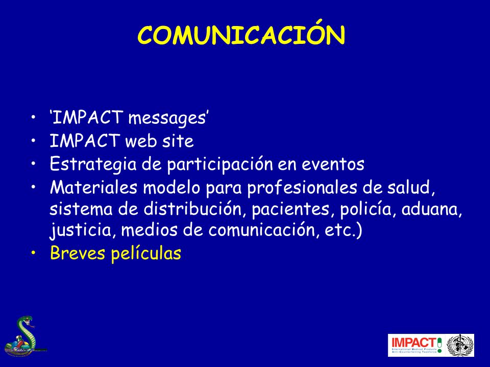 COMUNICACIÓN 'IMPACT messages' IMPACT web site