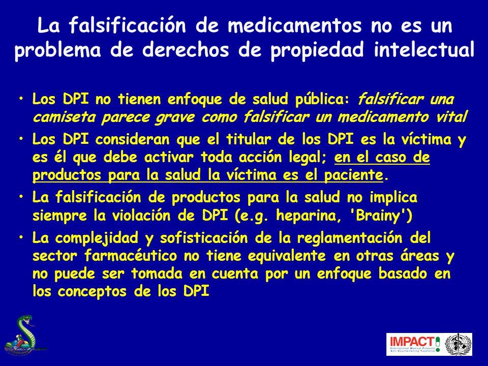 La falsificación de medicamentos no es un problema de derechos de propiedad intelectual
