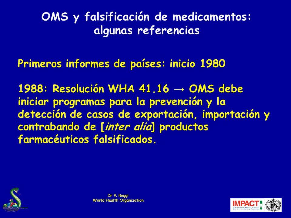 OMS y falsificación de medicamentos: algunas referencias