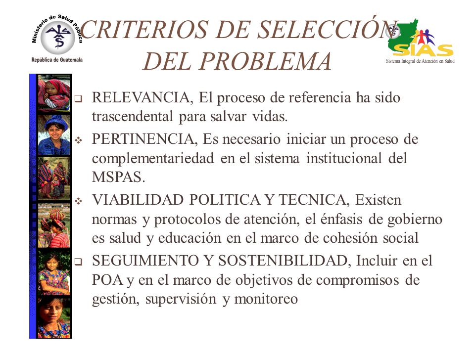 CRITERIOS DE SELECCIÓN DEL PROBLEMA