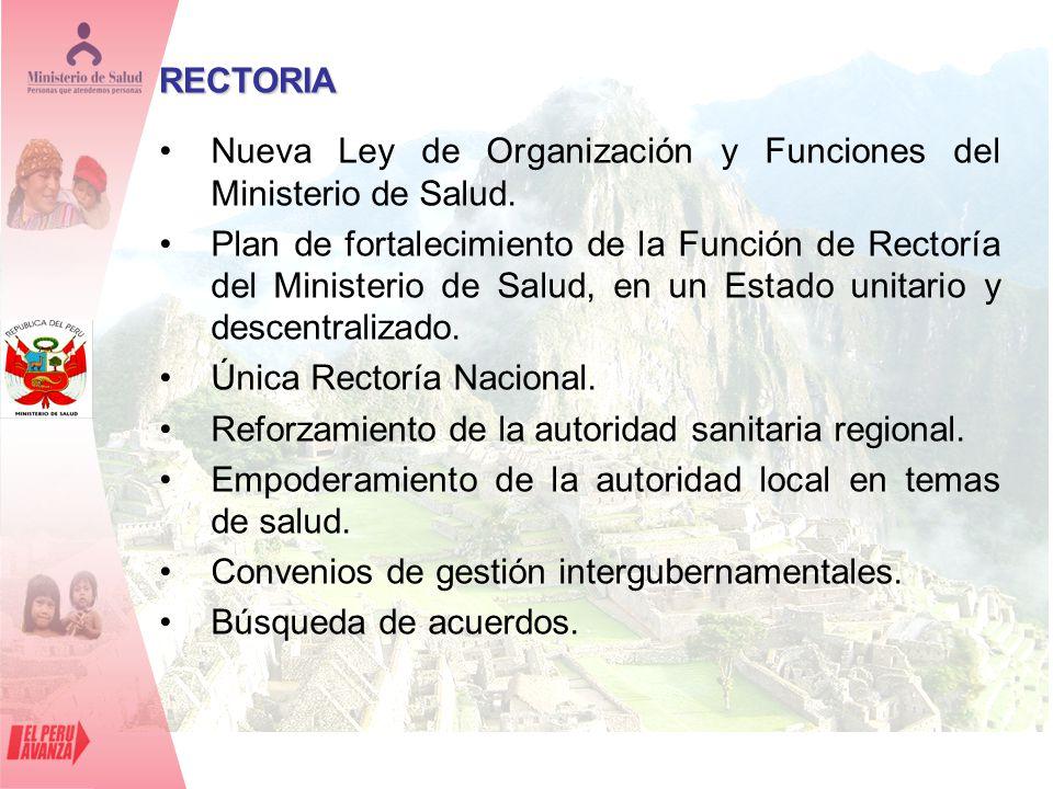 RECTORIA Nueva Ley de Organización y Funciones del Ministerio de Salud.