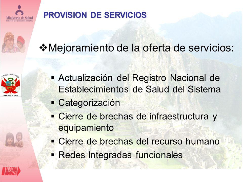 Mejoramiento de la oferta de servicios: