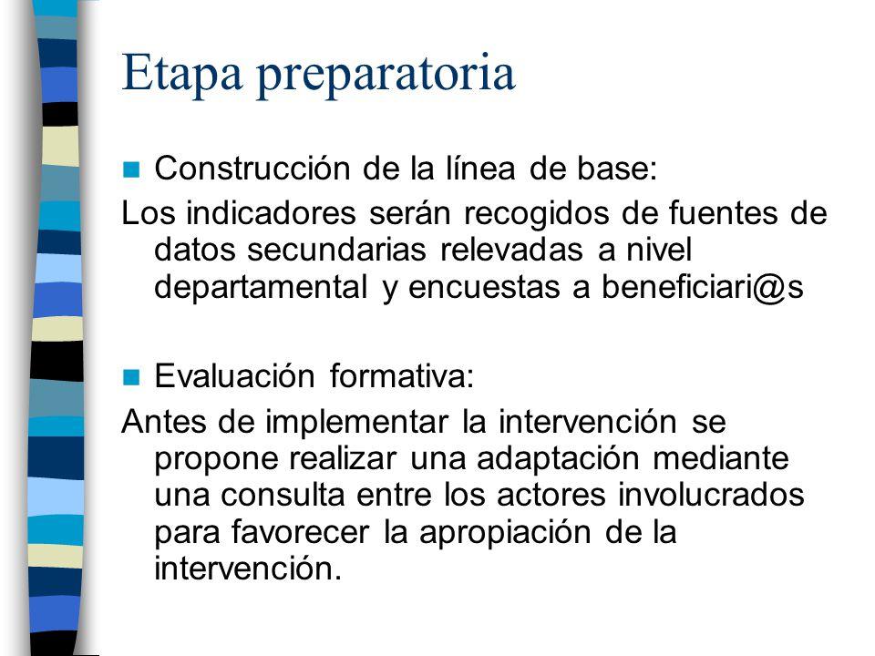 Etapa preparatoria Construcción de la línea de base: