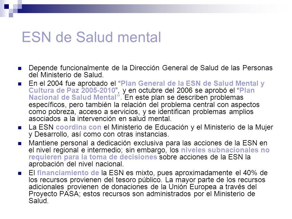 ESN de Salud mental Depende funcionalmente de la Dirección General de Salud de las Personas del Ministerio de Salud.
