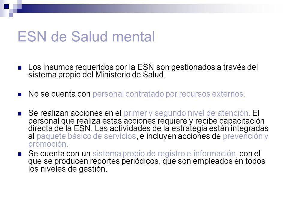 ESN de Salud mental Los insumos requeridos por la ESN son gestionados a través del sistema propio del Ministerio de Salud.