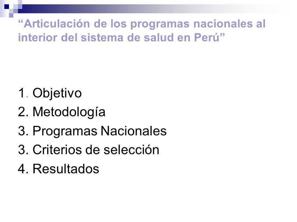 3. Criterios de selección 4. Resultados