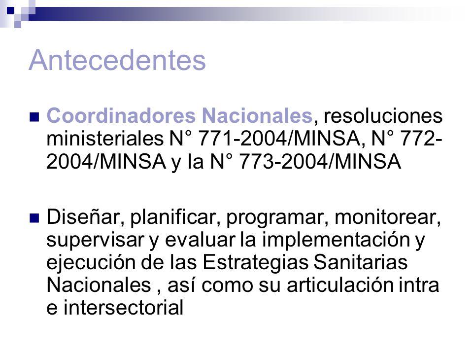 Antecedentes Coordinadores Nacionales, resoluciones ministeriales N° 771-2004/MINSA, N° 772-2004/MINSA y la N° 773-2004/MINSA.