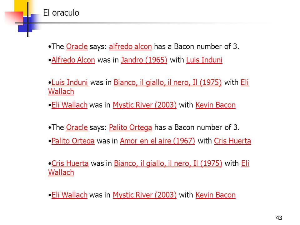El oraculo The Oracle says: alfredo alcon has a Bacon number of 3.