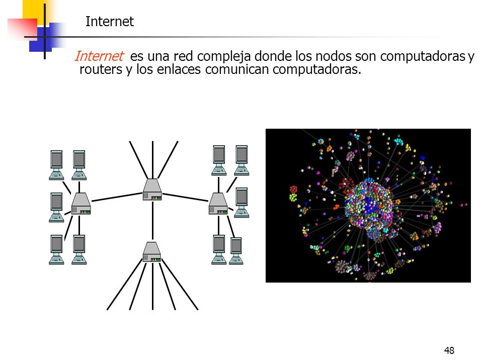 Internet Internet es una red compleja donde los nodos son computadoras y routers y los enlaces comunican computadoras.