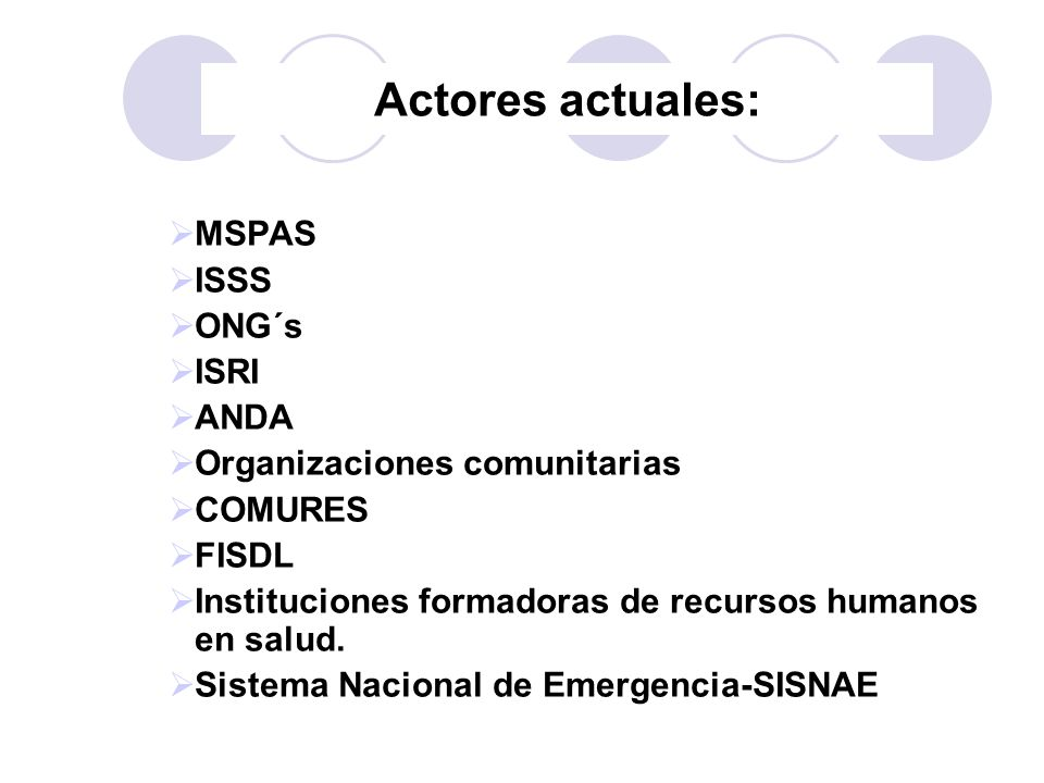 Actores actuales: MSPAS ISSS ONG´s ISRI ANDA