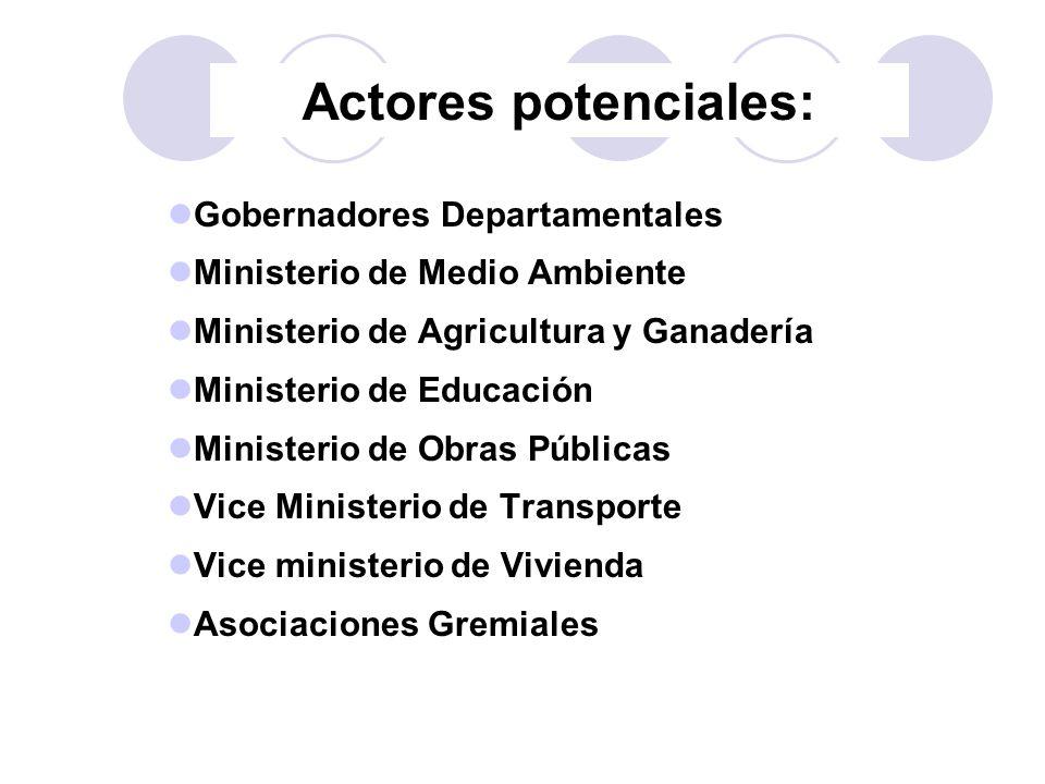 Actores potenciales: Gobernadores Departamentales