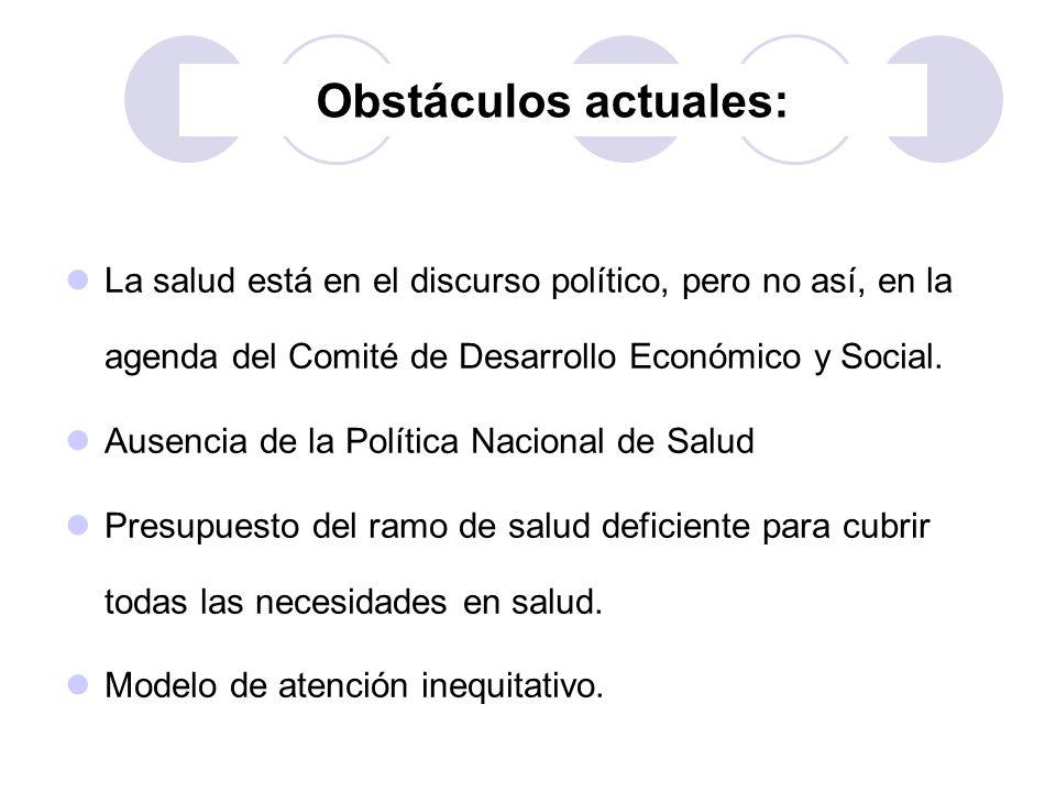 Obstáculos actuales: La salud está en el discurso político, pero no así, en la agenda del Comité de Desarrollo Económico y Social.