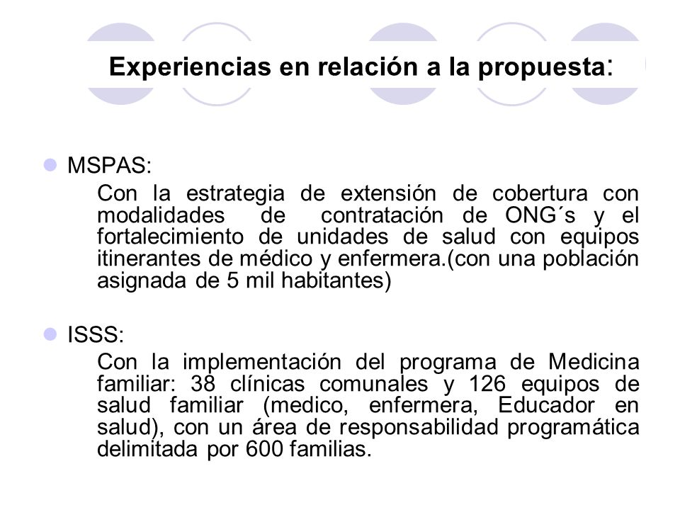 Experiencias en relación a la propuesta: