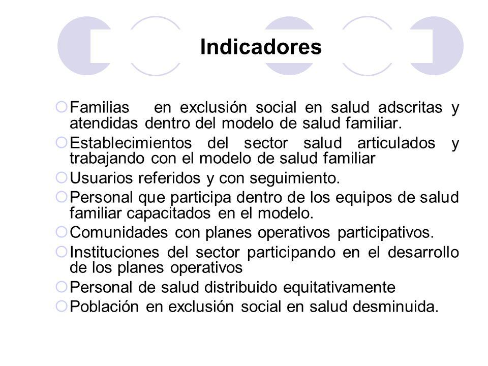 Indicadores Familias en exclusión social en salud adscritas y atendidas dentro del modelo de salud familiar.