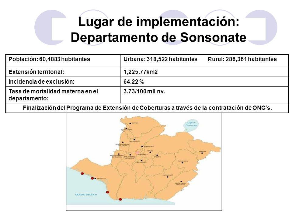 Lugar de implementación: Departamento de Sonsonate
