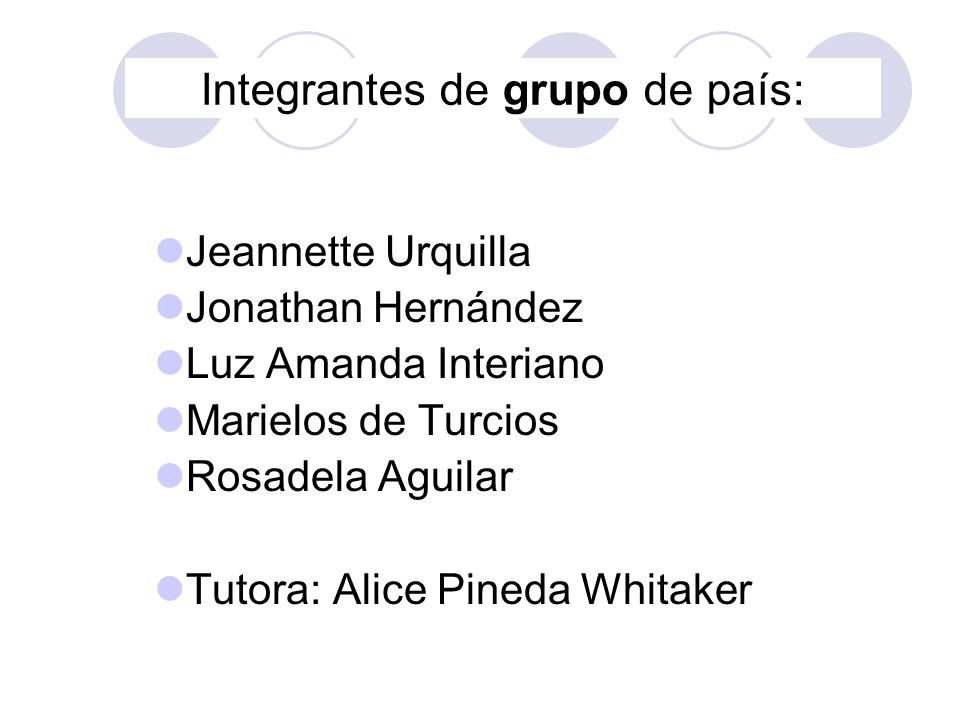 Integrantes de grupo de país: