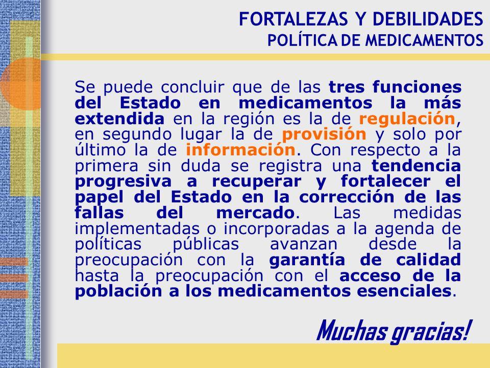 Muchas gracias! FORTALEZAS Y DEBILIDADES POLÍTICA DE MEDICAMENTOS