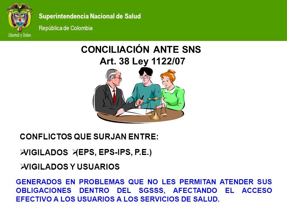CONCILIACIÓN ANTE SNS Art. 38 Ley 1122/07