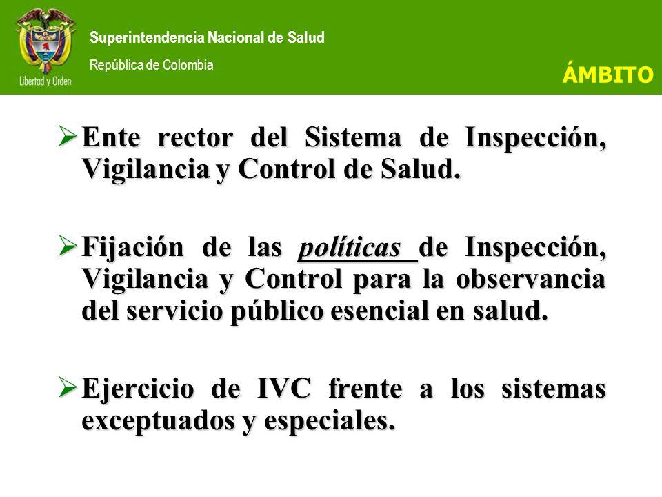 Ente rector del Sistema de Inspección, Vigilancia y Control de Salud.