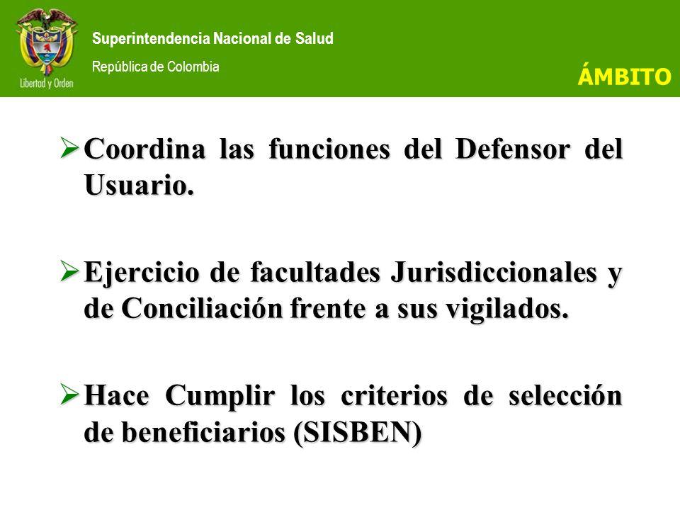 Coordina las funciones del Defensor del Usuario.