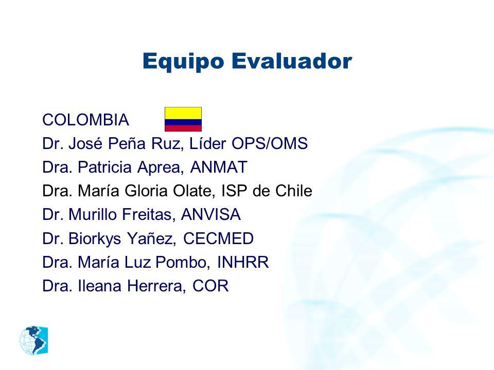 Equipo Evaluador COLOMBIA Dr. José Peña Ruz, Líder OPS/OMS