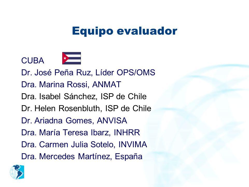Equipo evaluador CUBA Dr. José Peña Ruz, Líder OPS/OMS