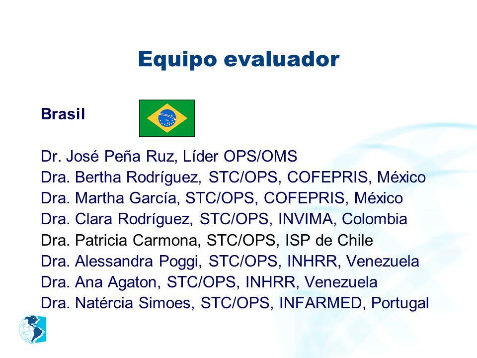 Equipo evaluador Brasil Dr. José Peña Ruz, Líder OPS/OMS